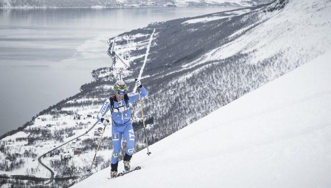El esquiador italiano Damiano Lenzi en la Final Copa Mundo Esquí de Montaña celebrada en Tromsø (individual Race) 2014. Quedó segundo y tercero en la Copa Mundo 2014 en categoría individual