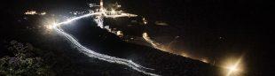 Espectacular vista de la salida nocturna de la Transvulcania 2014