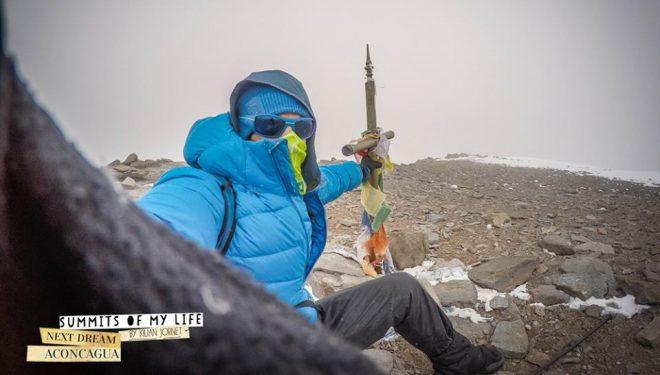 durante su record ascenso y descenso Aconcagua en 12h 49m. 23 diciembre 2014