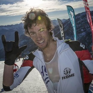 Kilian Jornet tras su primera victoria en la Copa del Mundo de Esquí de Montaña 2015: Vertical Race celebrada en Puy Saint Vicent (Francia)