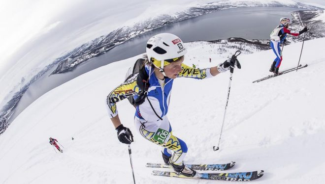 Emelie Forsberg en la Final Copa Mundo Esquí de Montaña celebrada en Tromsø (individual Race) 2014