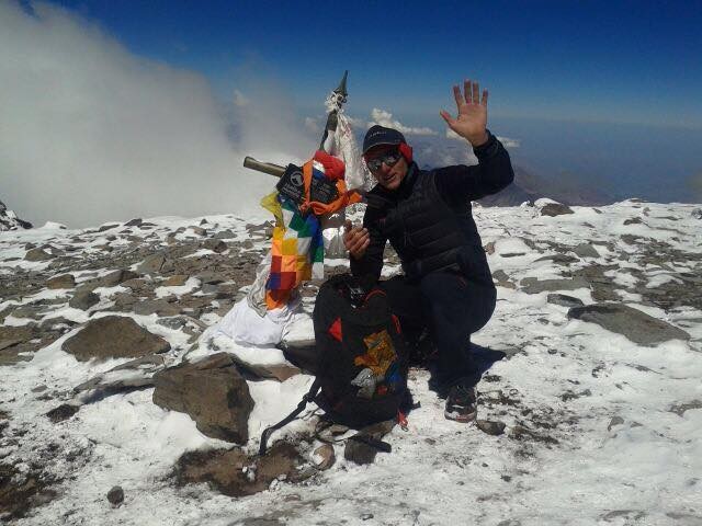 Karl Egloff en la cima del Aconcagua
