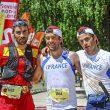 Podio masculino Campeonato Mundo Ultra Trail 2015. 1ª (en el centro) Sylvain Court, 2º (derecha) Luis Alberto Hernando, 3ª Patrick Bringer