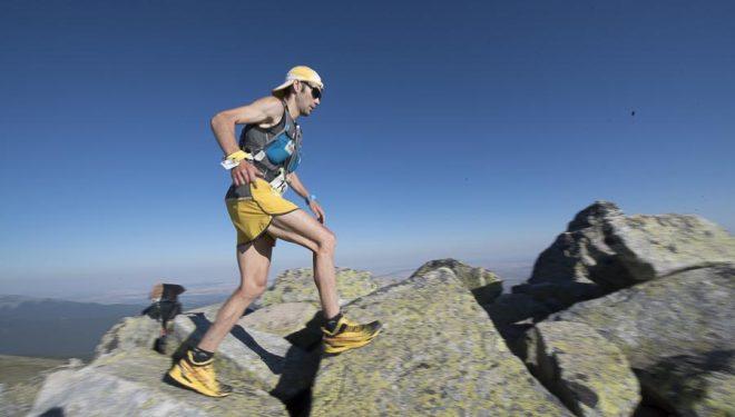 David López Castán cerca de la cima de Peñalara en el Gran Trail Peñalara 2015. Quedó tercero