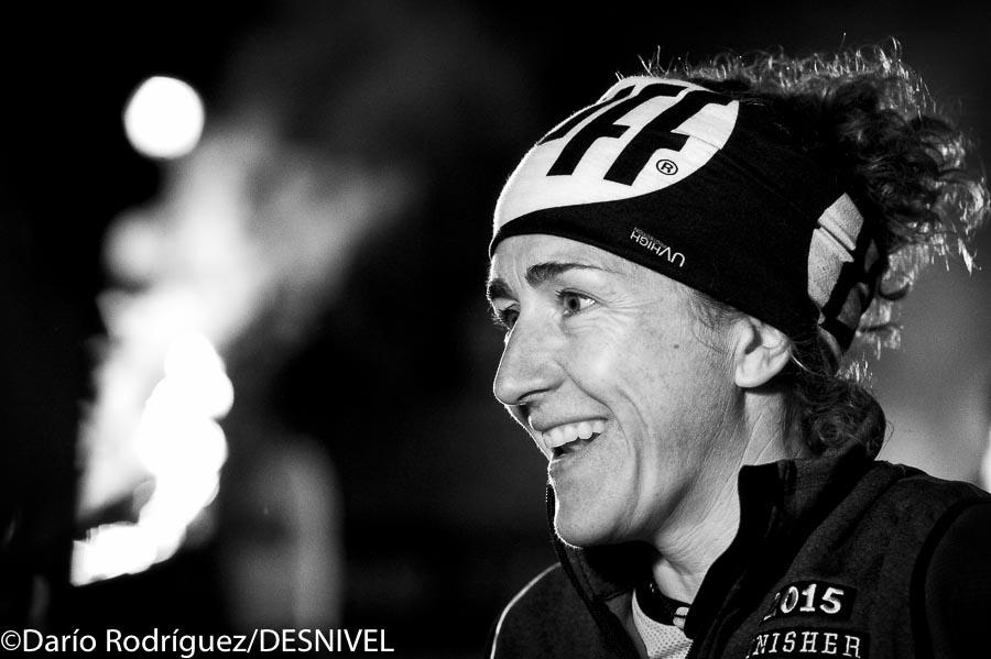 Nuria Picas feliz tras ganar la Buff Epic Trail 2015.