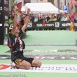 La alegria de Zaid Ait Malek al llegar a meta en segunda posición en Ultra Pirineu 2015