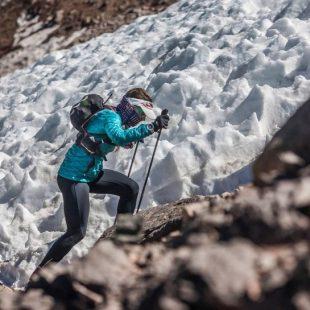 Fernanda Maciel aclimatando en el Aconcagua