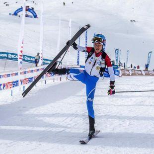 La francesa Laetitia Roux ganadora en Font Blanca (Andorra) prueba individual primera prueba Copa Mundo 2017.