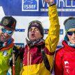 Podio Masculino Font Blanca (Andorra) prueba individual primera prueba Copa Mundo 2017. Ganador Anton Palzar Segundo Damiano Lenzi. Tercero Xavier Gachet