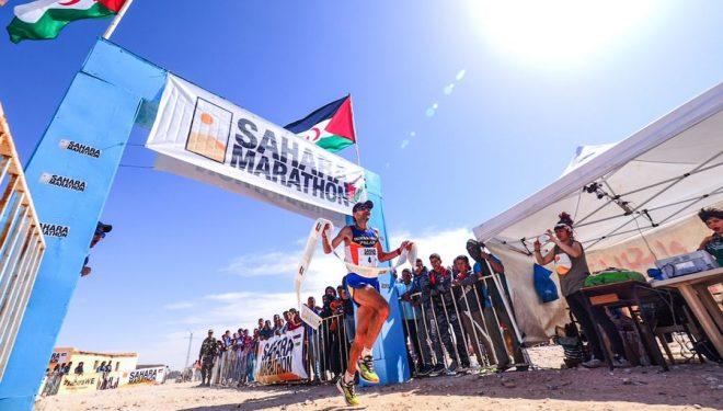 Giorgio Calcaterra venciendo en el Sahara Marathon 2017