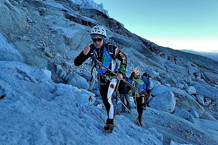 Karl Egloff y Nicolás Miranda durante su ascensión al Huascarán en 11 horas (junio 2016)