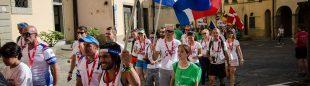 El equipo francés en la ceremonia de inauguración del Campeonato del Mundo de Trail 2017 IAU-ITRA