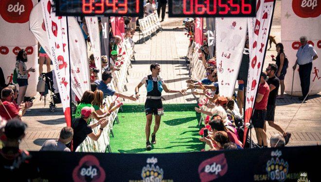 Miguel Heras cruza en primera posición la meta de la Ultra Trail DesafiOSOmiedo 2017