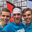 Podio masculino de la Dolomites Skyrace 2017. Davide Magnini (izda)