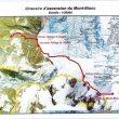 Mapa de la ruta normal de subida al Mont-Blanc desde Francia