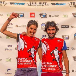 Laura Orgué y Artiz Egea celebran su victoria en The Rut 28K 2017