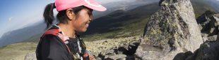 La corredora Mercedes Pila ganadora del Gran Trail Peñalara 2016 en la cresta de Claveles