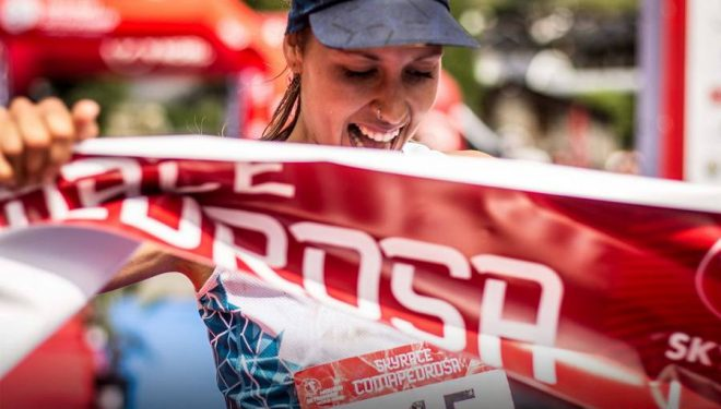 Sheila Avilés a su entrada en la meta de la Skyrace Comapedrosa 2017