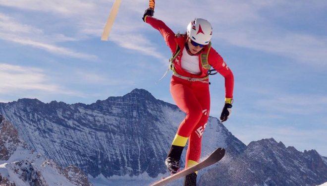 Una esquiadora en la Selección española en la concentración de Tignes 2017