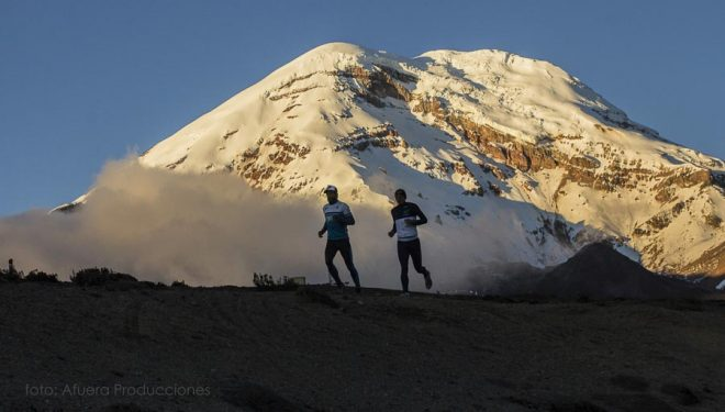 Karl Egloff y Nicolas Miranda durante su récord en el Chimborazo: que realizaron en 3 horas y 59 minutos (4 julio 2017)