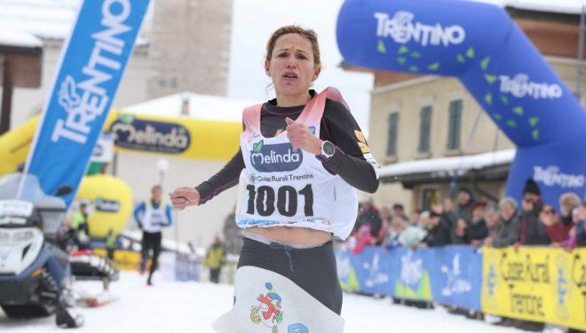 Laia Andreu entrando en la meta de la Ciaspolada 2018, que ganó