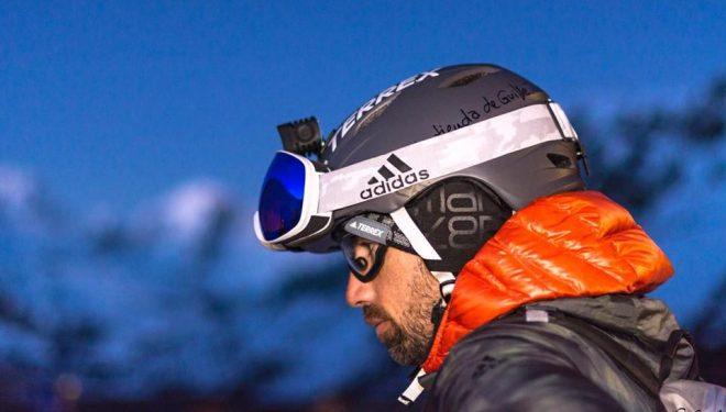 Luis Alberto Hernando en su reto de esquiar el máximo desnivel negativo durante 24 en Astún en enero de 2018 (Yhabril Moro)