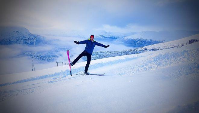Kilian Jornet entrenando en Noruega en enero de 2018