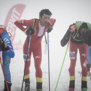 Kilian Jornet tras cruzar la meta de la Vertical Race de los Europeos de Esquí de Montaña 2018