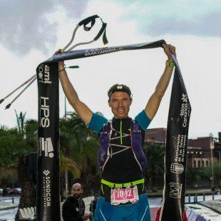 Peter Kienzl a su llegada a la meta de Transgrancanaria 360º 2018