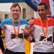 Podio masculino del Maratón del Meridiano 2018: Efrén Segundo (izda), Stian Angermund-Vik y Crístofer Clemente