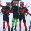 Podio masculino de la Causiat Extreme 2018, Campeonato de España Individual de Esquí de montaña: Noel Burgos (izda), Oriol Cardona y Antonio Alcalde