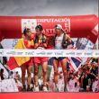 Podio masculino del Mundial de Penyagolosa Trails 2018: Crístofer Clemente (izda), Luis Alberto Hernando y Thomas Evans