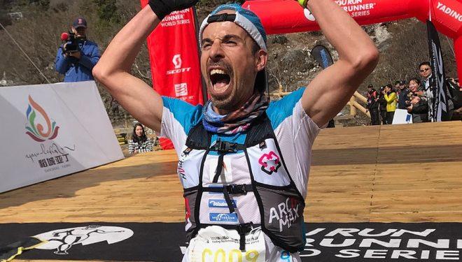 Oscar Casal Mir cruza eufórico la meta de la Yading Skyrun 2018