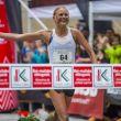Ida Nilsson a su entrada en la meta de Zegama Aizkorri 2018 en primera posición