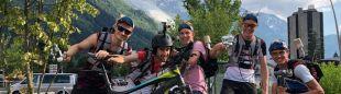 Biel Rafols y algunos 'cameramans' en la Marathon du Mont Blanc 2018