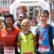 Podio masculino de la Trail Vielha-Molières 3010 2018: Genís Zapater (izda), Miguel Caballero y Asier Alonso