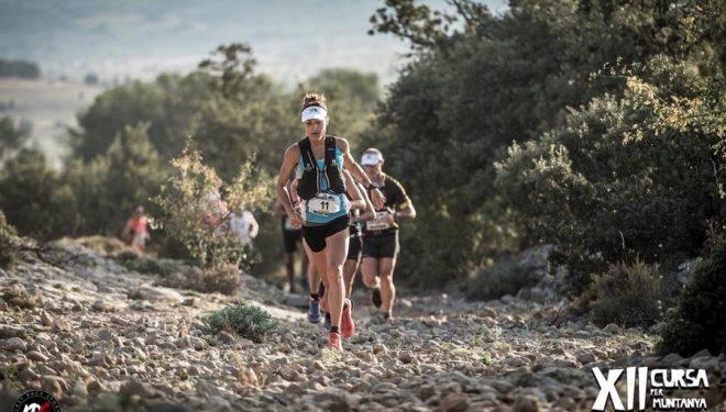 Sandra Sevillano en la meta de la Cursa de Vistabella 2018, en la que se proclamó vencedora de la Copa de España de Carreras en línea