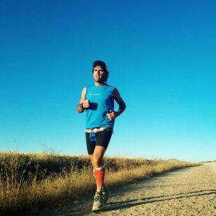 Miguel Mataix en su récord en el Camino de Santiago en agosto de 2018