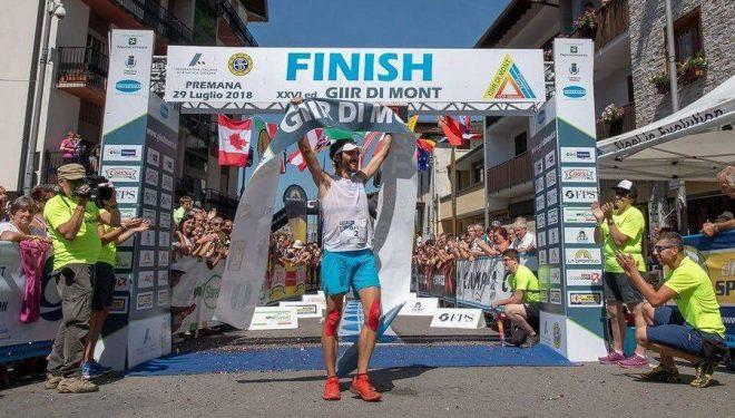 Aritz Egea en la meta del Giir di Mont 2018, que ganó