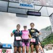 Podio femenino del ultra DesafiOSOmiedo 2018: Gemma Arenas(izda), Azara García y Uxue Fraile