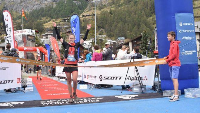 Virginia Pérez Mesonero cruzando la meta de la Matterhorn Ultraks 2018, que ganó
