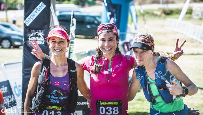 Podio femenino Maratón Montaña Palentina 2018: Aránzazu García (ganadora), Leticia Pérez (segunda) y Rosa María Bayón (tercera).