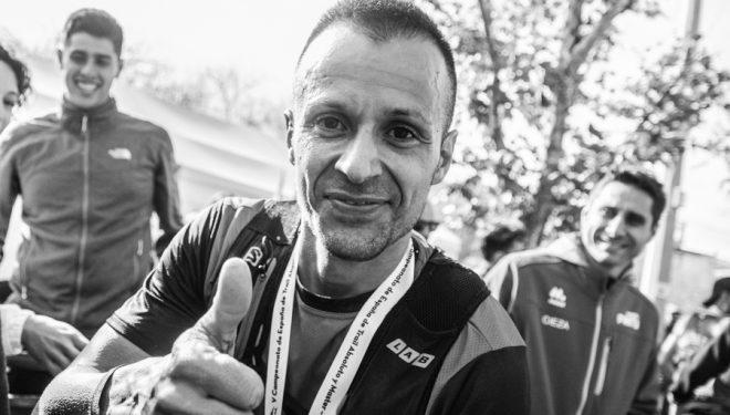 Albert Pujol tras ganar la Falco Trail 2018, en la que se proclamó campeón de España de Trail-Running RFEA
