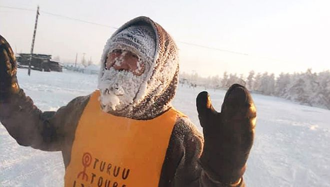 Un participante del Oymyakon Marathon 2019