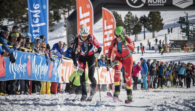 Clàudia Galicia en el sprint final de la Copa del Mundo de Esquí de Montaña en la Font Blanca 2019