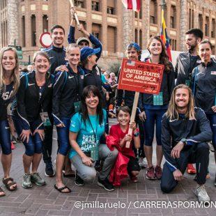 El equipo de EE.UU. en el desfile de selecciones del Mundial Penyagolosa Trails 2018