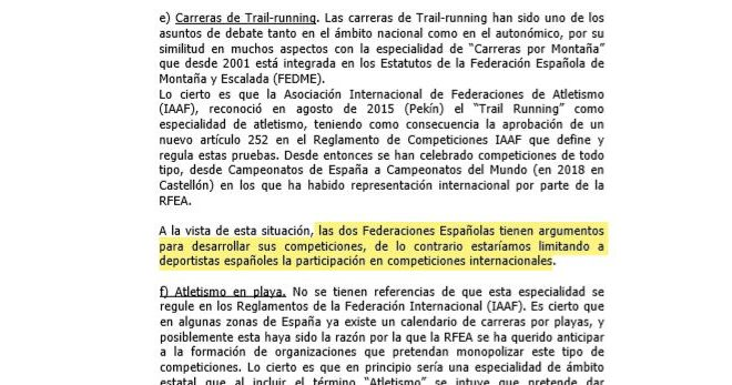 Captura del informe del CSD sobre las competencias de RFEA y FEDME