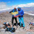 Karl Egloff y Nicolás MIranda en la cima del Aconcagua en febrero de 2019