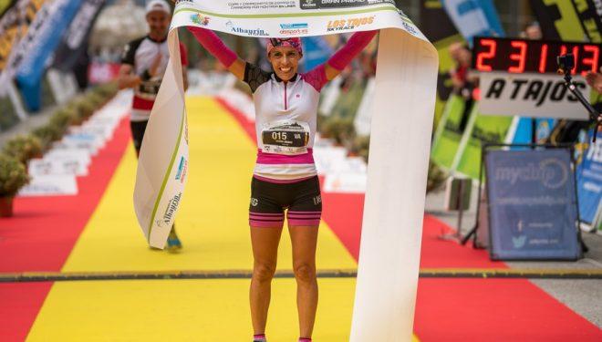 Gemma Arenas en la meta de Los Tajos Skyrace 2019
