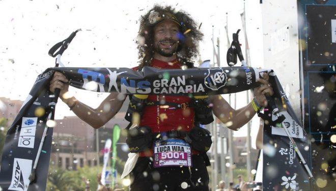 Luca Papi en la meta de Transgrancanaria 360º 2019